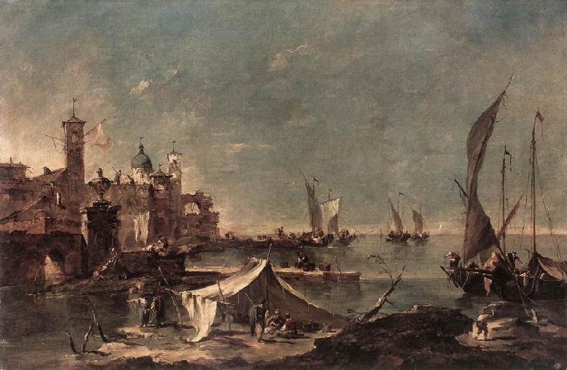 GUARDI, Francesco Landscape with a Fisherman s Tent oil painting image