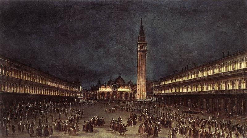 GUARDI, Francesco Nighttime Procession in Piazza San Marco fdh oil painting image