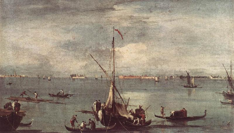 GUARDI, Francesco The Lagoon with Boats, Gondolas, and Rafts kug oil painting image