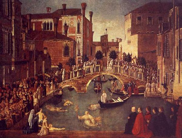 Gentile Bellini The Miracle of the True Cross near the San Lorenzo oil painting image