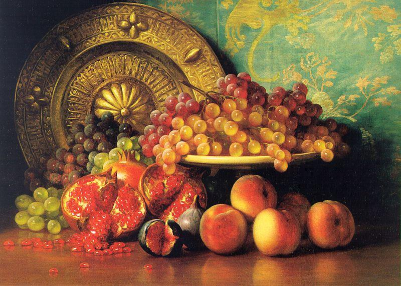 George Henry Hall Figs, Pomegranates, Grapes and Brass Plate oil painting image