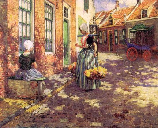 George Hitchcock Dutch Flower Girls oil painting image