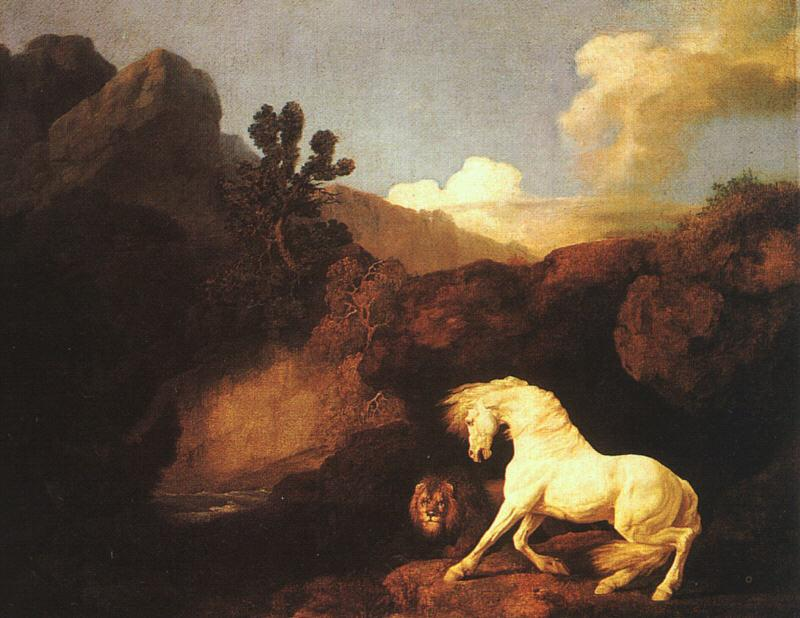 George Stubbs A Horse Frightened by a Lion France oil painting art