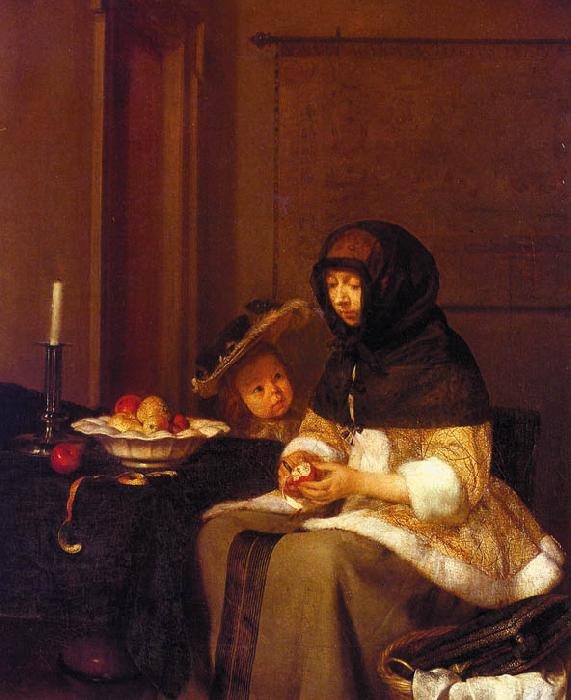 Gerard Ter Borch Woman Peeling Apples oil painting image