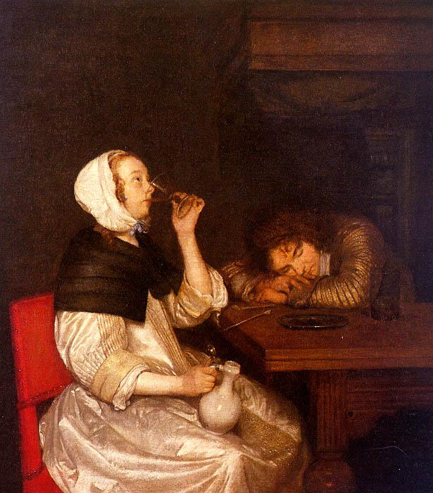Gerard Ter Borch Woman Drinking with a Sleeping Soldier oil painting image