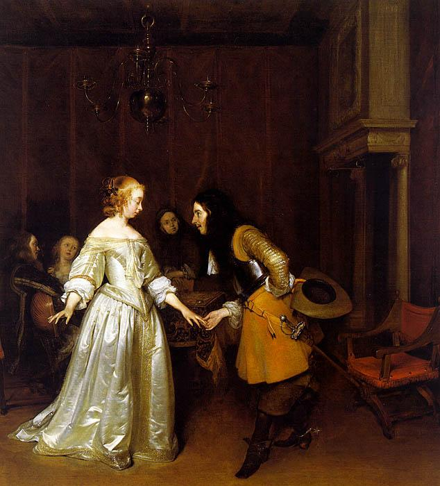 Gerard Ter Borch An Officer Making his Bow to a Lady oil painting image