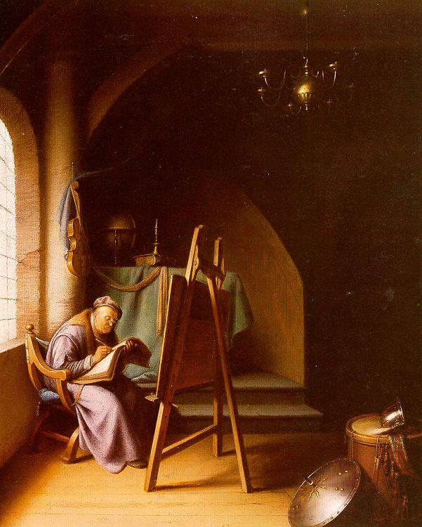 Gerrit Dou Man Writing in an Artist's Studio oil painting image