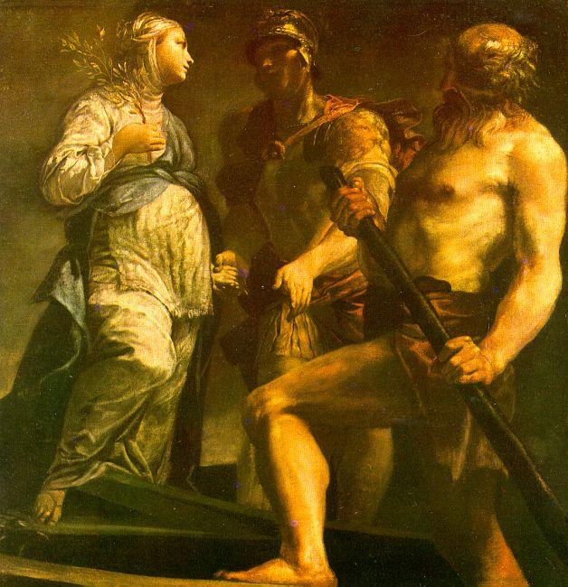 Giuseppe Maria Crespi Aeneas with the Sybil Charon oil painting image