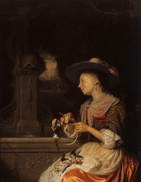 Godfried Schalcken Young Woman Weaving a Garland France oil painting art