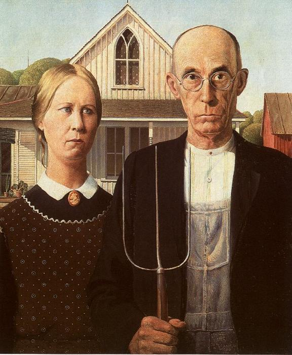 Grant Wood American Gothic France oil painting art