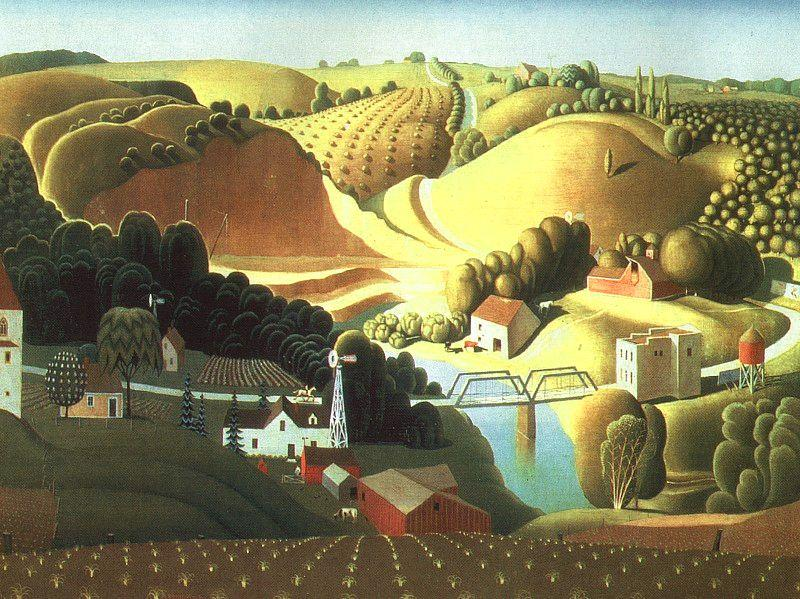 Grant Wood Stone City, Iowa France oil painting art