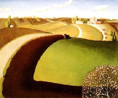 Grant Wood Spring Plowing France oil painting art