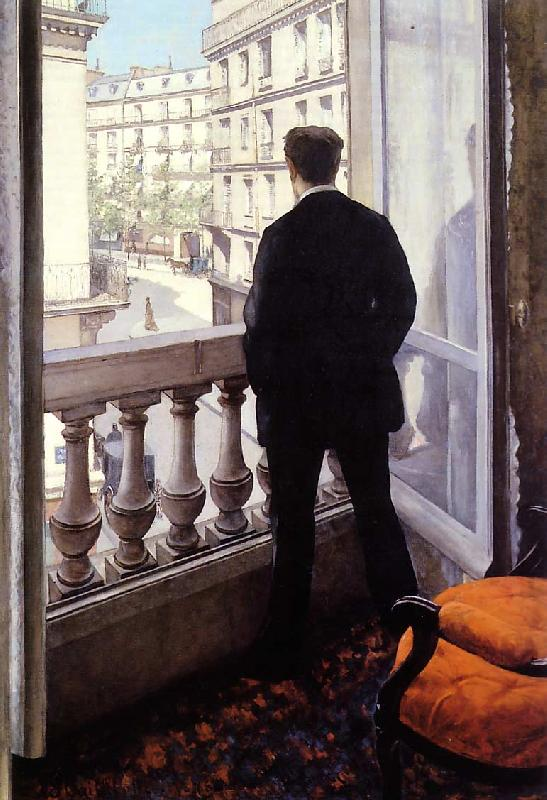 Gustave Caillebotte Young Man at his Window oil painting image