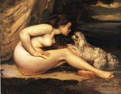 Gustave Courbet Nude with Dog oil painting image