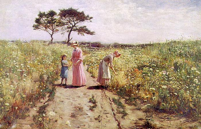 Hamilton Hamiltyon Picking Flowers France oil painting art