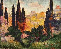 Henri Edmond Cross Cypress Trees at Cagnes oil painting image
