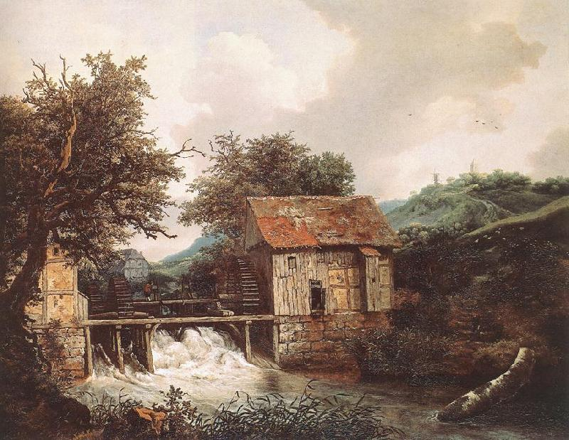 Jacob van Ruisdael Two Watermills and an Open Sluice near Singraven oil painting image