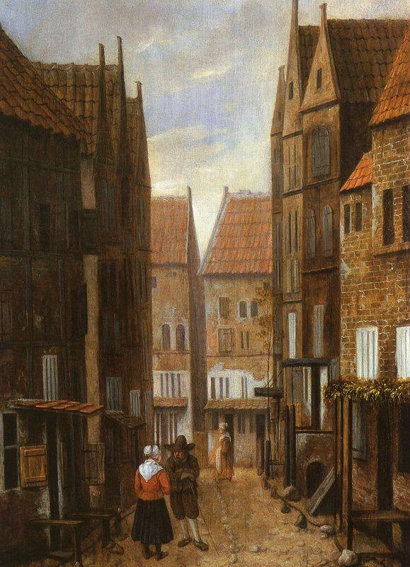 Jacobus Vrel Street Scene with Couple in Conversation oil painting image