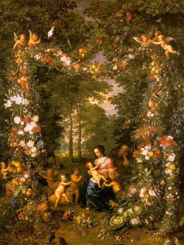 Jan Brueghel Holy Family in a Flower Fruit Wreath oil painting image