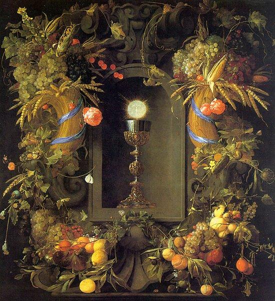 Jan Davidz de Heem Eucharist in a Fruit Wreath oil painting image