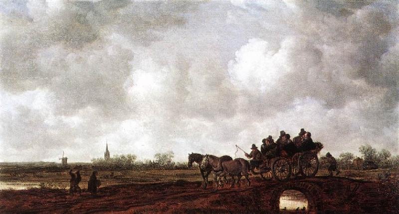 Jan van Goyen Horse Cart on a Bridge oil painting image