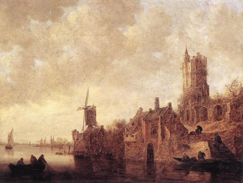 Jan van Goyen River Landscape with a Windmill and Ruined Castle oil painting image