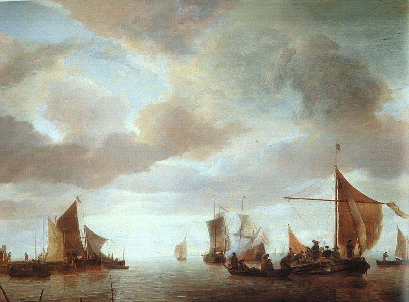 Jan van de Cappelle Ships on a Calm Sea near Land oil painting image