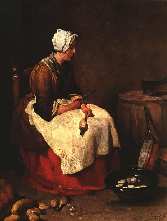 Jean Baptiste Simeon Chardin Girl Peeling Vegetables oil painting image