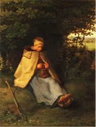 Jean Francois Millet Woman Knitting oil painting image