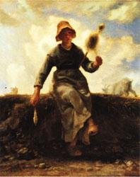 Jean Francois Millet The Spinner, Goat-Girl from the Auvergne oil painting image