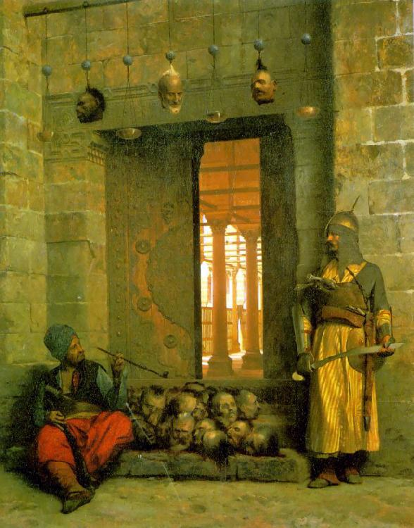 Jean Leon Gerome Heads of the Rebel Beys at the Mosque of El Hasanein oil painting image