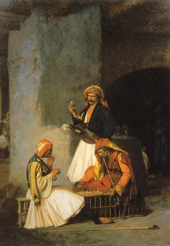 Jean Leon Gerome Arnauts Playing Chess oil painting image
