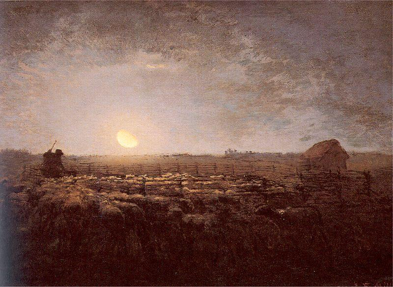Jean-Franc Millet The Sheep Meadow Moonlight oil painting image