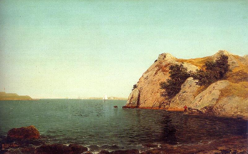 John Kensett Beacon Rock at Newport Harbor France oil painting art