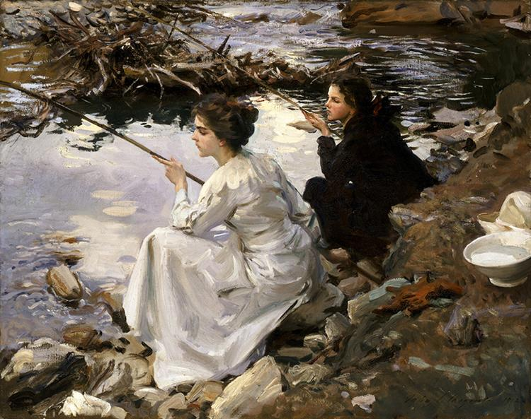 John Singer Sargent Two Girls Fishing France oil painting art