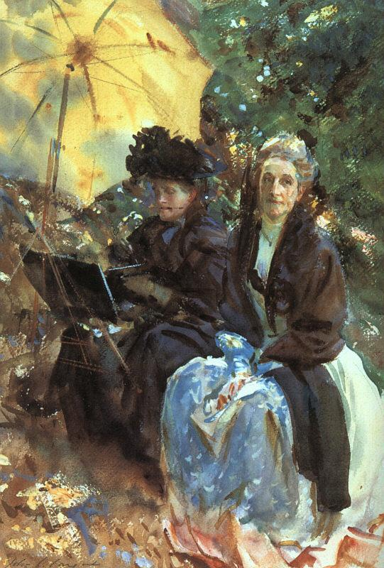 John Singer Sargent Miss Wedgewood and Miss Sargent Sketching France oil painting art