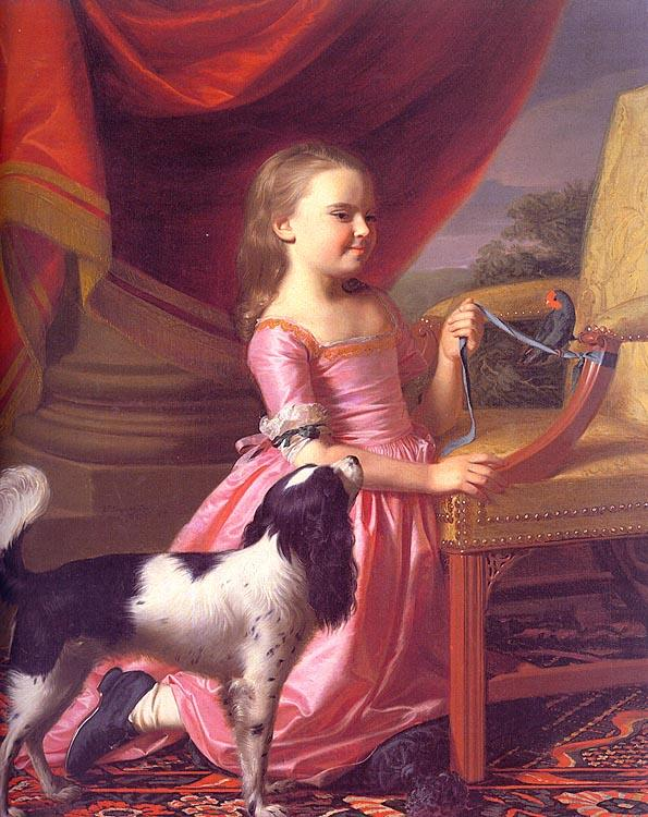 John Singleton Copley Young Lady with a Bird and a Dog France oil painting art