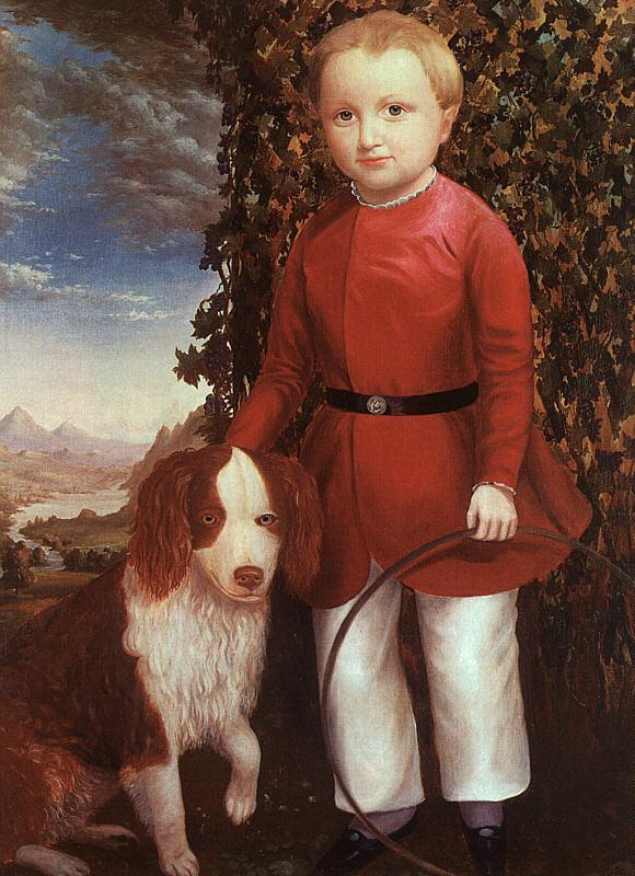 Joseph Whiting Stock Portrait of a Boy with a Dog France oil painting art
