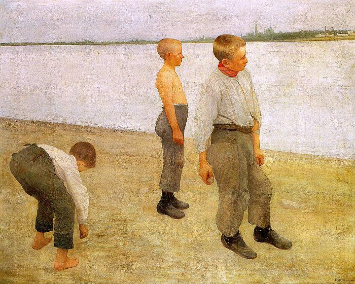 Karoly Ferenczy Boys Throwing Pebbles into the River oil painting image