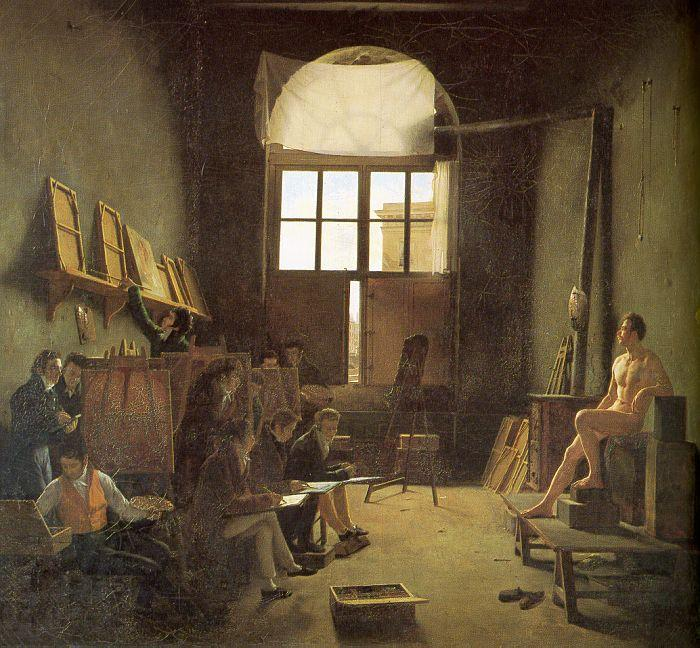Leon-Matthieu Cochereau Interior of the Studio of David oil painting image