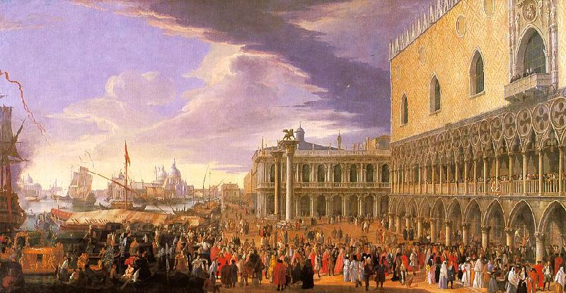 Luca Carlevaris Entry of the Earl of Manchester into the Doge's Palace oil painting image