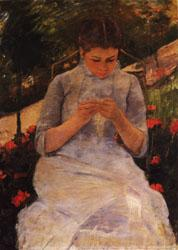 Mary Cassatt Sewing Woman oil painting image