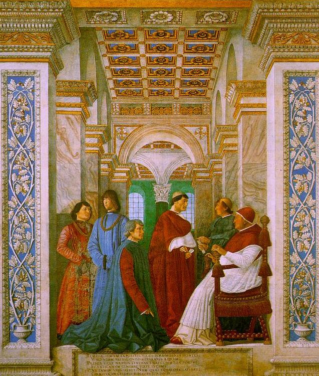 Melozzo da Forli Sixtus II with his Nephews and his Librarian Palatina oil painting image
