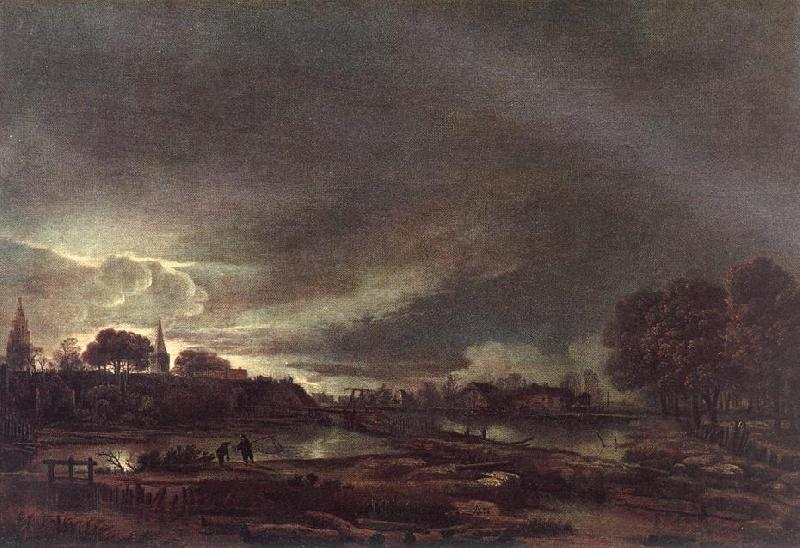 NEER, Aert van der Small Town at Dusk ag oil painting image