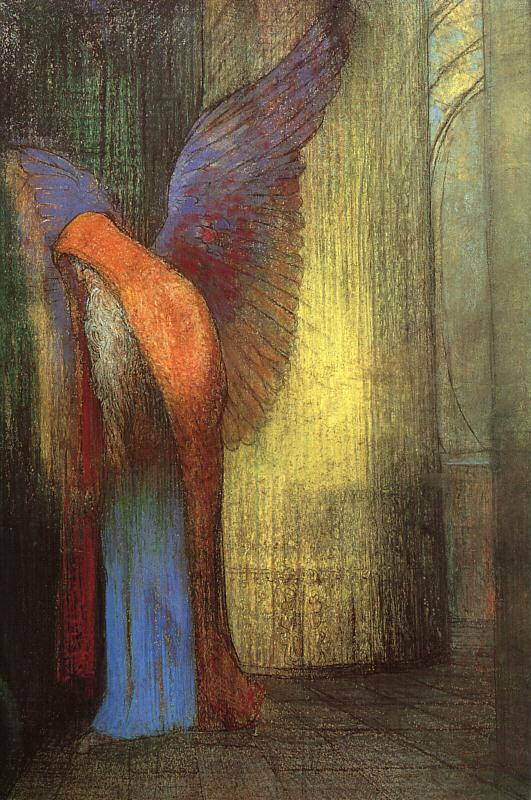 Odilon Redon Winged Old Man with a Long White Beard France oil painting art