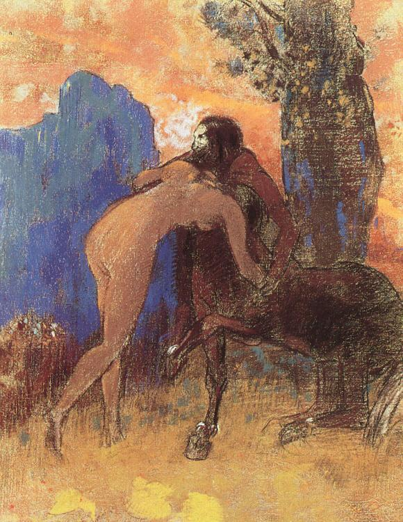 Odilon Redon Struggle Between Woman and a Centaur France oil painting art