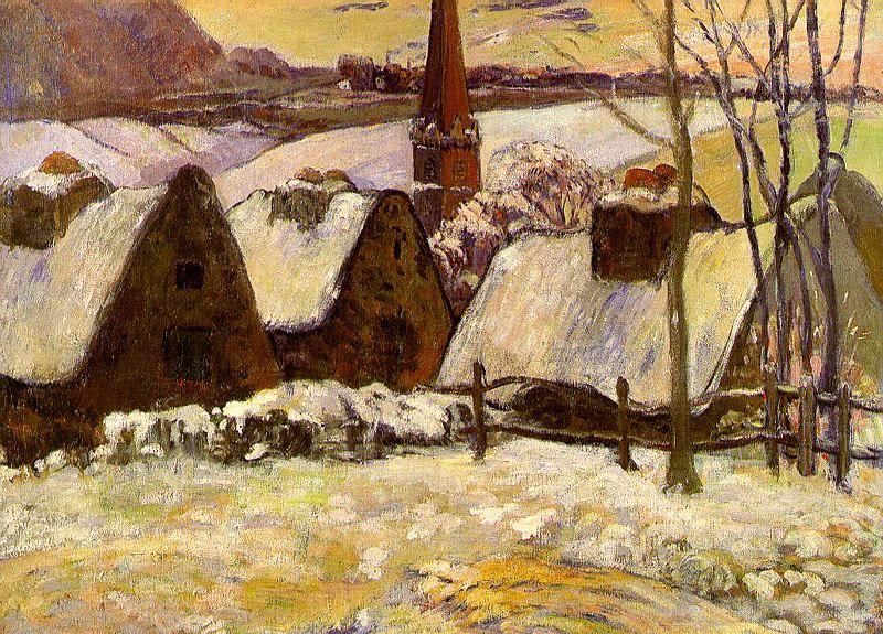 Paul Gauguin Breton Village in the Snow oil painting image