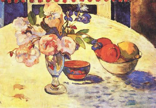 Paul Gauguin Flowers and a Bowl of Fruit on a Table  4 oil painting image