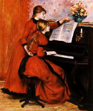 Pierre Renoir Two Young Girls at the Piano France oil painting art