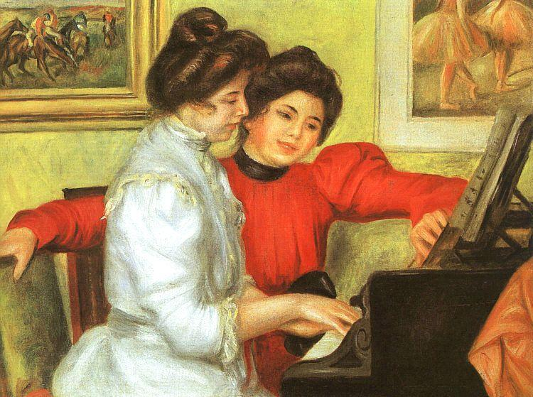 Pierre Renoir Yvonne and Christine Lerolle Playing the Piano France oil painting art